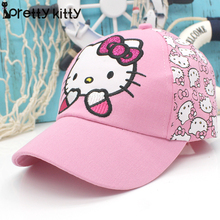 PRETTY KITTY 2017 New snapback Summer  Baseball Cap Kids Baby  Girls Adjustable Caps Fashion hello kitty Minnie Children Hats