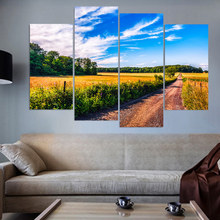 Canvas Painting Wall Art Prints Framework Home Decoration Modular 4 Panel Blue Sky Field Fashion Pictures For Living Room Framed
