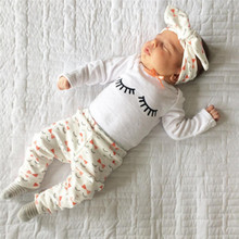 3pcs Baby Girls Clothing Long Sleeve Children Clothes Infant Tops+Pants Eyelash Pattern+Headband Kids Outfit Set Hot Sale