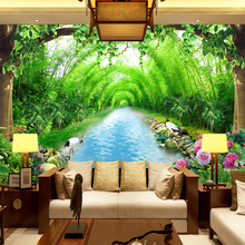 Free Shipping Bamboo grove stream water 3D wallpaper sofa television bedroom hotel restaurant decoration bridge wallpaper mural