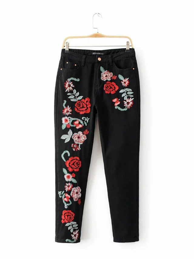 Floral Embroidery Jeans Female Spring Autumn Zipper Straight Denim Pants Jeans Women Fashion Pocket Blue Black Trousers JeansÎäåæäà è àêñåññóàðû<br><br>