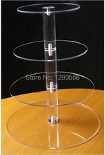 Free shipping   4 Tier Clear Circle Acrylic Round Cupcake Display Stand Rack For Wedding Birthday Party Cake Wine Display Rack