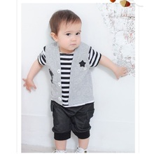 1PCS/LOT Stripe Baby Rompers Camera Short Sleeve Toddler Shortall Coverall Baby Tuxedo Clothes HJ