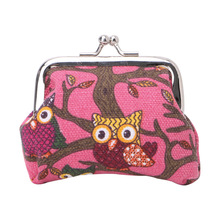Women Lady Girl Multi-color Owl Design Coin Money Bag Purse Wallet Canvas Cute Fashion Practical Special Square Shape Mini Bags