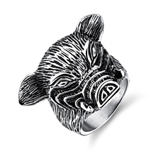 City Fashion Jewelry Man's Accessories Stainless Steel Pig Shape Retro Smooth Design Rock Punk Casual Style Rings GJ587(China)