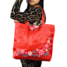 Printing Flowers Foldable Reusable Shopping Bags Promotional Bags EcoTote Bag shopping bag(China)