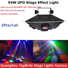 2XLot High Quality 2017 New LED UFO Stage Effect Light 94W RGBWY Colors LED Stage Lighting DJ DMX Disco Laser Projector Lights(China)