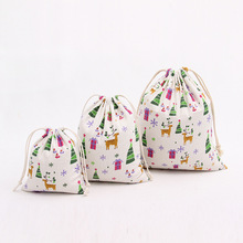 10PCS/LOT Christmas Gifts Sack Bag Christmas Tree Drawstring Bags Tea Candy Storage Bags S M L 2017 New Wholesale