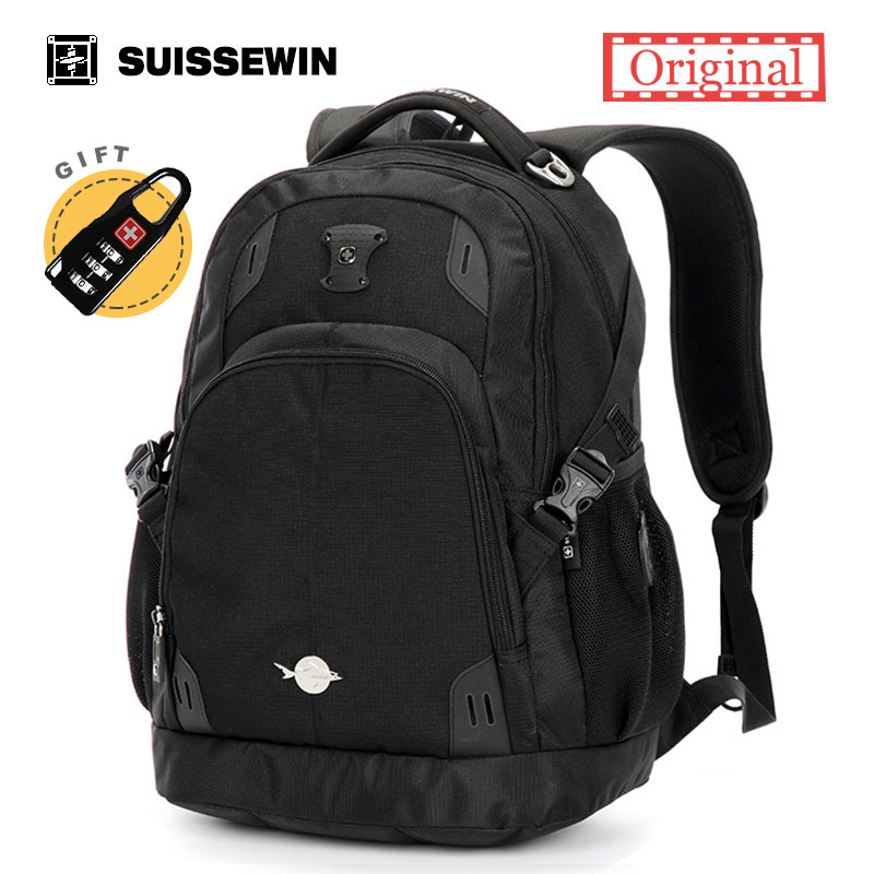 Suissewin Orthopedic School Backpack For Teenage Boys Casual Bag Swiss Brand Laptop Backpack Male Backpack Bag Satchel Bag Black<br>