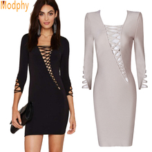 2017 new Women hot sexy hollow out front dress long sleeve celebrity bandage dress elastic club party dress drop ship HL517