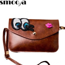 SMOOZA Fashion Messenger bags big eyes Cartoon Printing lips Envelope bags Designer Small Women Bag Shoulder Crossbody Bags