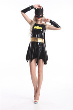 Free Shipping hot black batman costume adult batgirl women halloween costumes for women sexy superhero cosplay mask cape custom