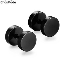 Wholesale Fashion Brand Black Silver Stainless Steel Earrings Women Men's Barbell Dumbbell Punk Gothic Stud Earring For Men E101
