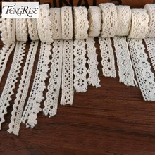 FENGRISE Apparel Sewing Fabric 5 Yards DIY Ivory Cream Black Trim Cotton Crocheted Lace Fabric Ribbon Handmade Accessories Craft(China)