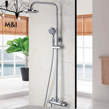 Buy New Modern Chrome Bathroom Bath Shower Mixer Square Shower Faucet Tap Set Thermostatic Rainfall Shower Head Shower Set for $102.70 in AliExpress store