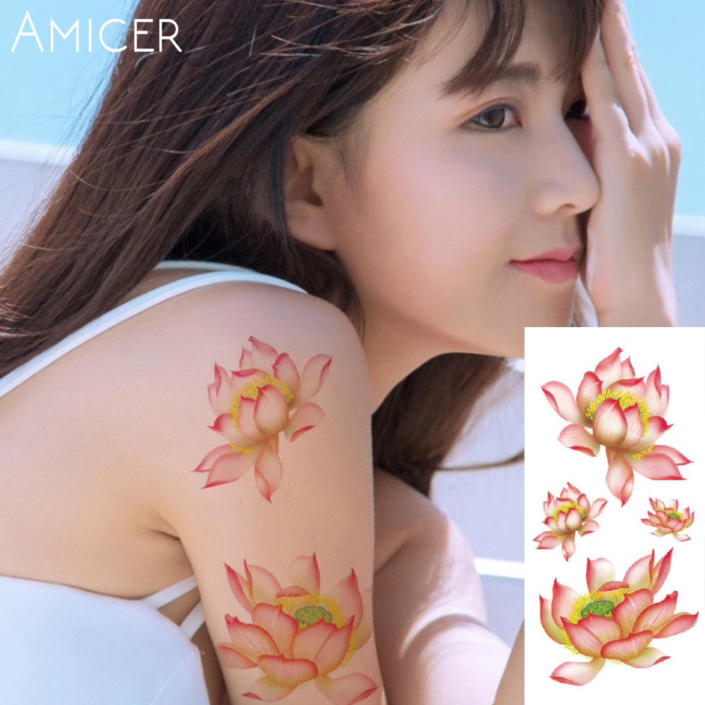 3D lifelike Cherry blossoms rose big flowers Waterproof Temporary tattoos women flash tattoo arm shoulder tattoo stickers 26
