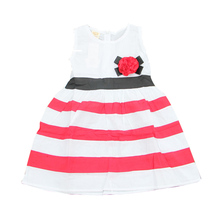 Baby Girl Dress Red And White Striped Flower Girls Princess Dresses For Kids Clothing Girls' Dresses Costumes