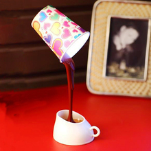 iTimo Coffee Pouring LED Night Light Table Lamp DIY Coffee Cup 8LEDs Creative USB Battery Light for Study Bedroom Decoration