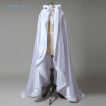 White Wedding custom size coat winter wedding Cape Satin Luxury jacket with fur trim sweep train bridal cape wedding wrap(China)