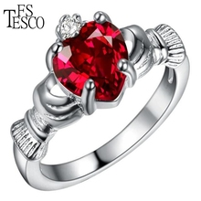Fstesco brand ring  silver color 8 colors Gemstone heart crystal high quality hot sell best gift