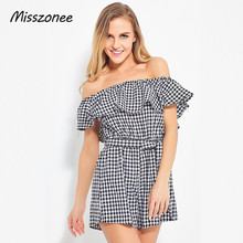 Misszonee women jumpsuit Off shoulder coveralls romper playsuits summer beachwear Ruffles plaid overalls leotard(China)