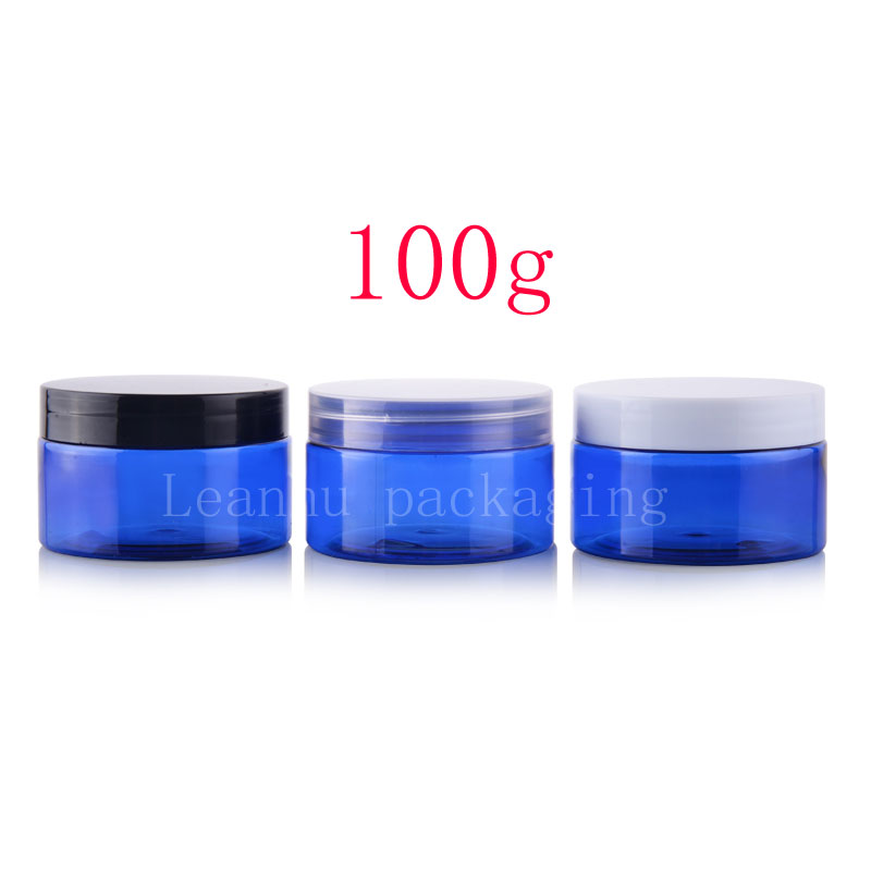 100g blue PET jar with plastic lids (1)