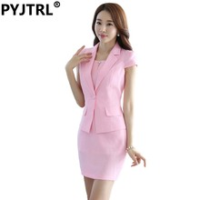 (Jacket+Dress) Summer Short Sleeve Dress Suit Hotel Work Clothes Formal Uniform White Female Business Elegant Brazer Suits
