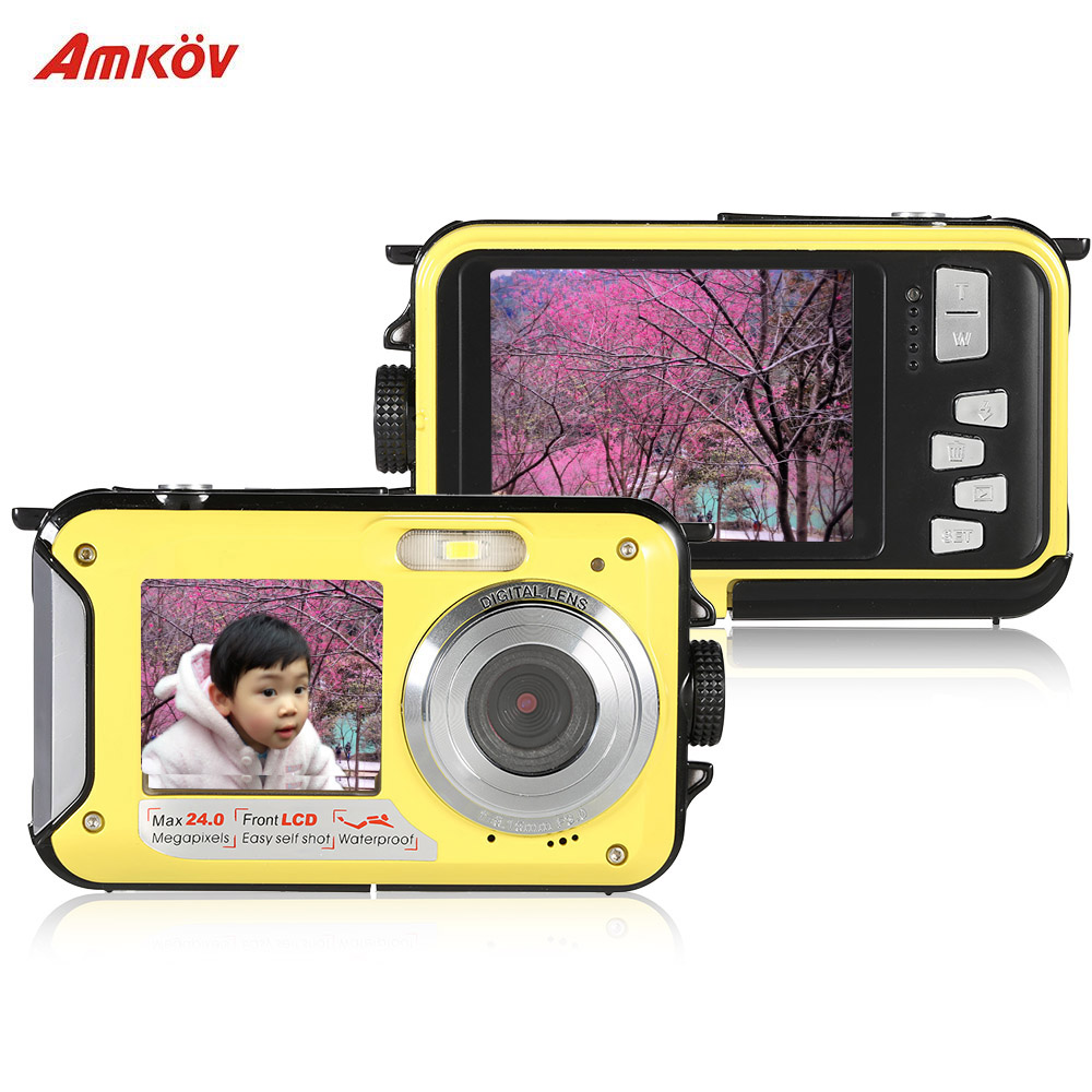 "Oversea Stock Amkov 1080P 30FPS HD Digital Video Camera 24MP 16X Digital Zoom Dual LCD 2.7"" Screen Anti-shake Mini Camcorder(China)"