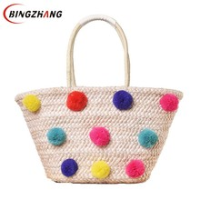 Colorful Wool Ball Pom Beach Bag Shopping Basket Chic Woven Straw Handbags for Women Large Shoulder Bag Summer Totes L4-3005