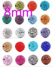 OMH  factory 8mm 50pcs variety color Clay Rhinestone AAA++ Crystal Fit Biagi Bracelet European Pave Disco Bll Shamballa Beads