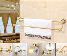 Luxury Crystal Decoration Gold Bathroom Hardware Hanger Set Towel Bar Hook Soap Paper Holder Brush Cup Sanitary Discount Package