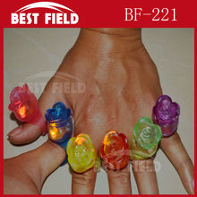 Free shpping 36pcs/lot led finger light LED Flashing Light Up Rose Blinking Party Favors Rave Glow Finger Ring New