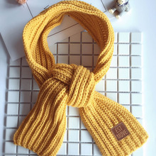 High Quality Boy Girls  Winter Solid Color Scarf Warm Knitting Wool Scarves Children Winter Neck Warmer with the leather lable
