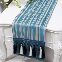 1 Piece New Style Chenille Table Runner Free Shipping/ High-grade Stripe Table Runner/ Fashion Decorat Table Runner with Tassels
