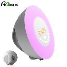 Digital Alarm Clock FM Radio Bluetooth Simulated Sunrise Sunset Wake-up Light LED Alarm Clock Touch Sensor Night Bedside Lamp(China)