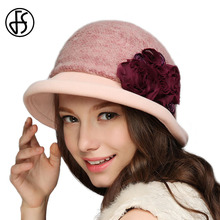 FS 100% Wool Hat Fedora Lady Vintage Floral Felt Hats Winter Autumn Wide Brim Bowler Fedoras Red Classic Chapeu Feminino