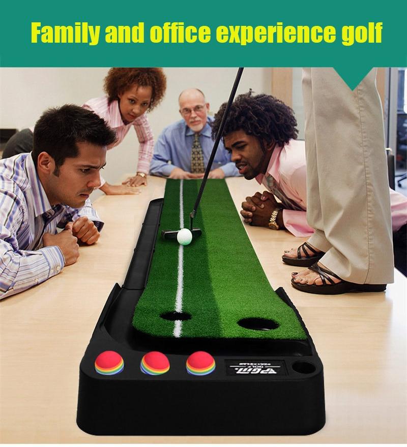PGM indoor Golf Putter Practice Set Putting Green Trainer Green Mat Automatic Return Fairways Equipment Golf Training Aids (21)