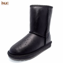 INOE classic mid-calf genuine sheepskin leather real sheep fur lined winter snow boots for women winter shoes waterproof black