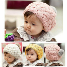 Real Rabbit Fur Knitted Baby Caps Cute Baby Photography Props Soft Plaited Baby Hat Baby Girl Crochet Beanie Toddler Cap(China)