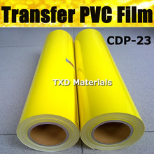 High quality CDP-23 Yellow PVC heat transfer film with size 50cmx25m with free shipping , transfer PVC vinyl film for fabric