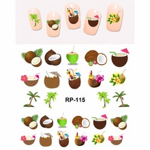 NAIL ART BEAUTY NAIL STICKER WATER DECAL SLIDER TROPICAL FRUIT LYCHEE PEACH PLUM COCONUT PALM TREE DURIAN RP115-120(China)