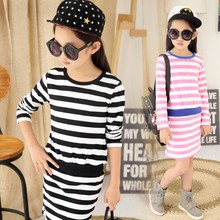 Kids Spring and summer child models of child princess long sleeve children girls stripe dress 4-14 ages(China)