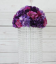 2016 NEW Purple table centerpiece artificial rose wedding flower wall backdrop road lead arch flower ball for party arrangement(China)