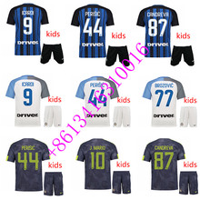 HOT SALES 2017 kids BEST QUALITY ADULT INTER MILANES SOCCER JERSEY 17 18 HOME RED AWAY GRAY MEN SHIRT FREE SHIPPING(China)