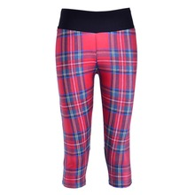 New 1087 Sexy Girl Women plaid tarta red Stripe 3D Prints Workout Fitness stretchy Cropped Trousers Women Leggings Pocket Pants(China)