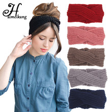 Haimeikang Crochet Turban Headband Winter Warmer Knitted Wool Cross Wide Hair Bands for Women Headwear Girls Hair Accessories