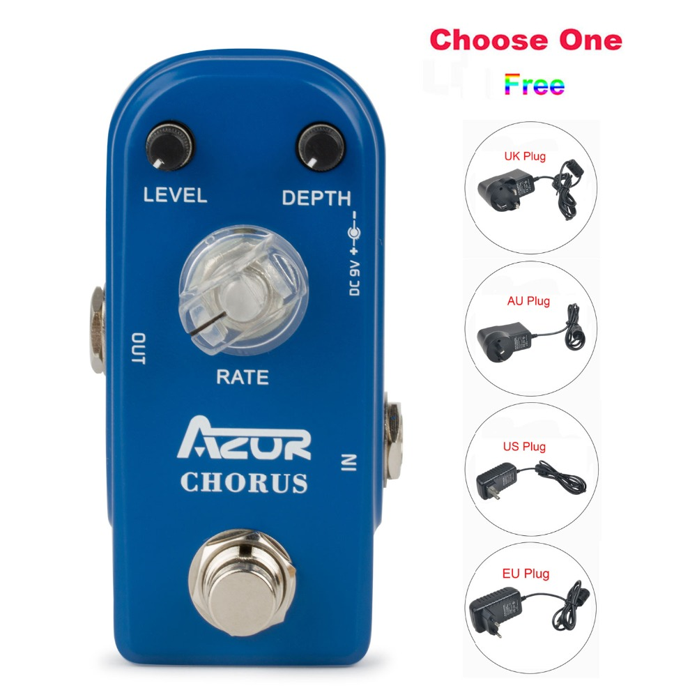 AP-309 Chorus Mini Guitar Effect Pedal with Ture Bypass+9V1A Adapter and 8 Heads Multi-interface Effects Connecting Cable<br>