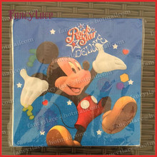 20pcs Blue Mickey Mouse Paper Napkin for Party Decoration Supplies Kids Birthday Home Party Disposable Tableware Serviettes