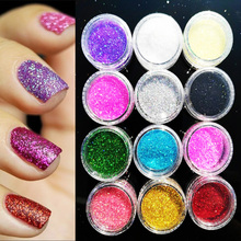 [12Colors] 12jars/lot Assorted Color Nail Art Fine Glitter Powder Dust UV Gel Polish Acrylic Nail Tips Tools (full/jar 12jars/)