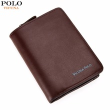 VICUNA POLO Casual Casual Genuine Leather Wallet For Man With Zipper Coin Purse Business Credit Card Wallet carteira couro New